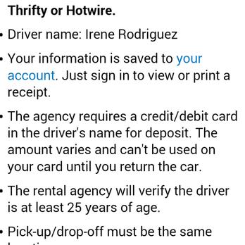 Thrifty Car Rental Debit Card Policy