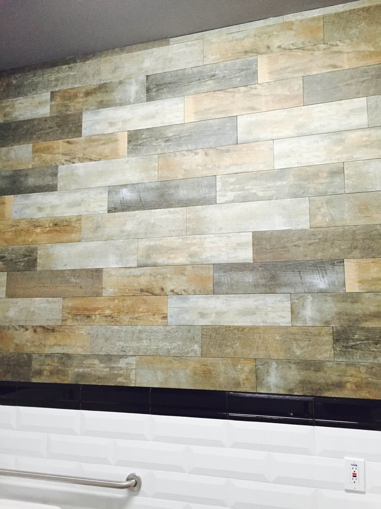 Staggered Lay Wood Tile Plank Porcelain (Wall) - Yelp