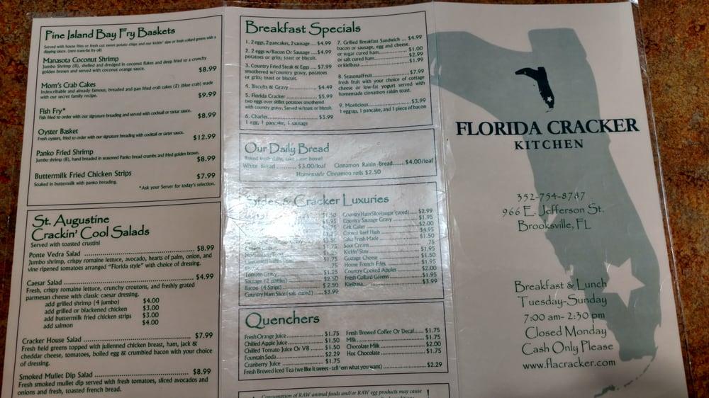 Florida Cracker Kitchen Brooksville Fl Menu