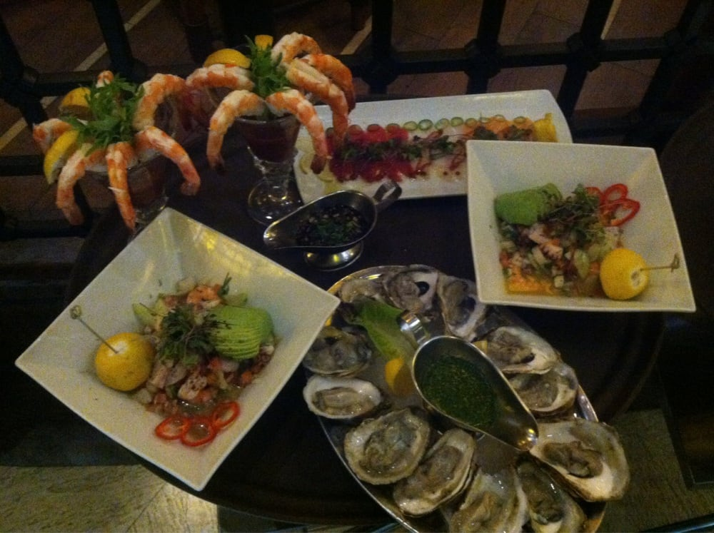 Natural jumbo shrimp tiradito mixed ceviches and blue for Pm fish steak house