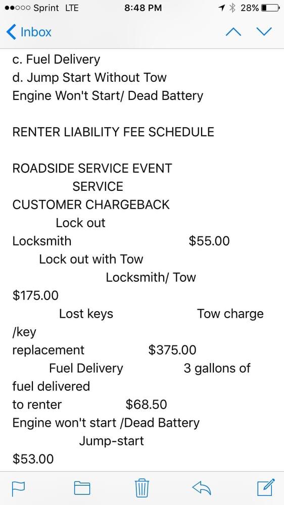Avis Rental Car Roadside Assistance Cost