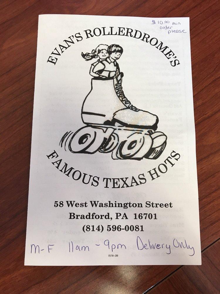 Evan's Rollerdrome's Famous Texas Hots: 58 W Washington St, Bradford, PA