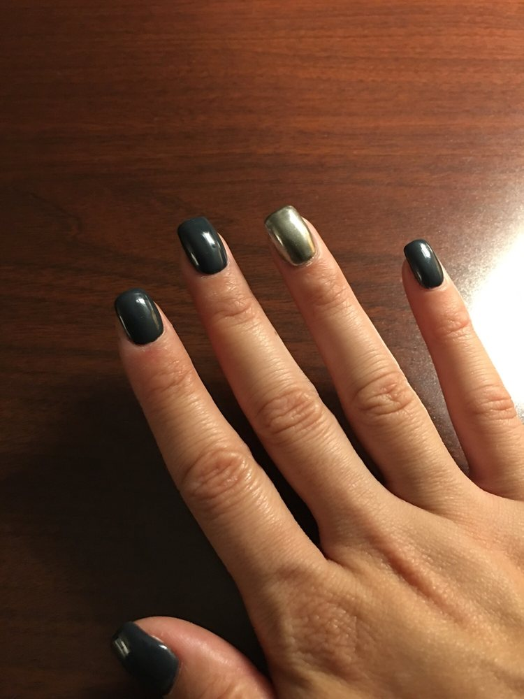 Gel polish with powdered chrome accent nail. - Yelp