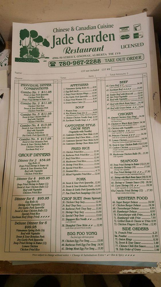 Jade Garden Chinese 4906 50 Street Onoway Ab Canada Restaurant Reviews Phone Number