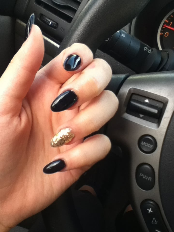 full set acrylic nails with gel polish and gold accent sparkles $45 ...