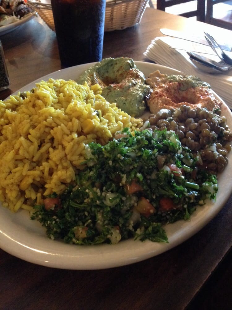 Curried rice toubeleh lentil salad onion hummus spinach for Aladdins cuisine