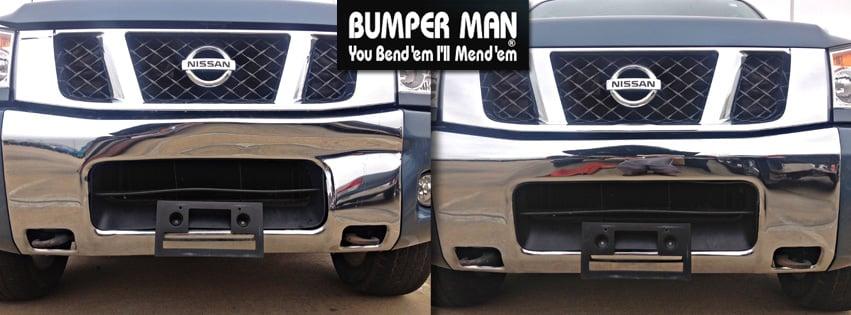 Before and After Chrome Bumper Repair -- Steve Silcox, Atlanta, GA