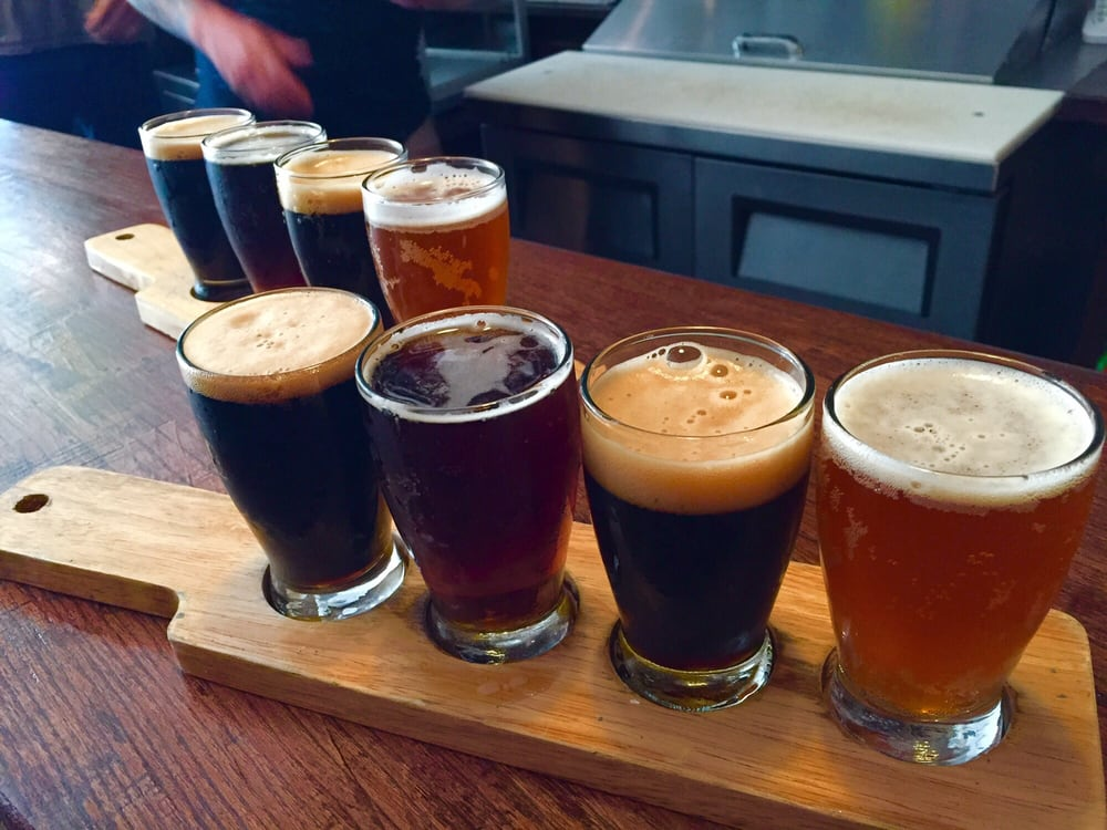 Photo of The Sampler Bushwick - Brooklyn, NY, United States. Kelso industrial IPA, greenport harbor Brett porter, Arcadia loch down wee heavy, and finback American porter