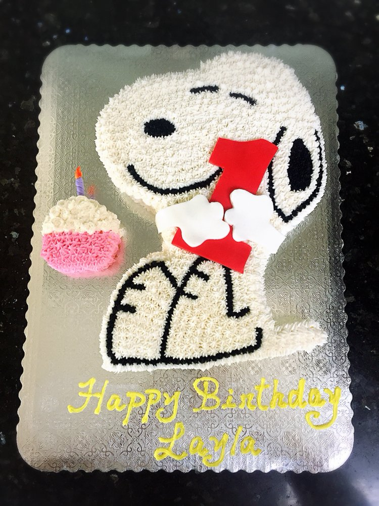 Snoopy Theme Birthday Cake In Buttercream Yelp