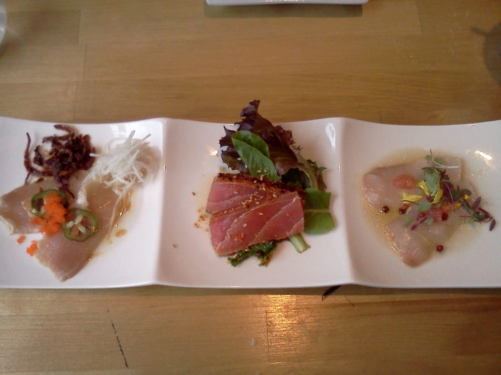 dinela trio of albacore carpacio yellowtail