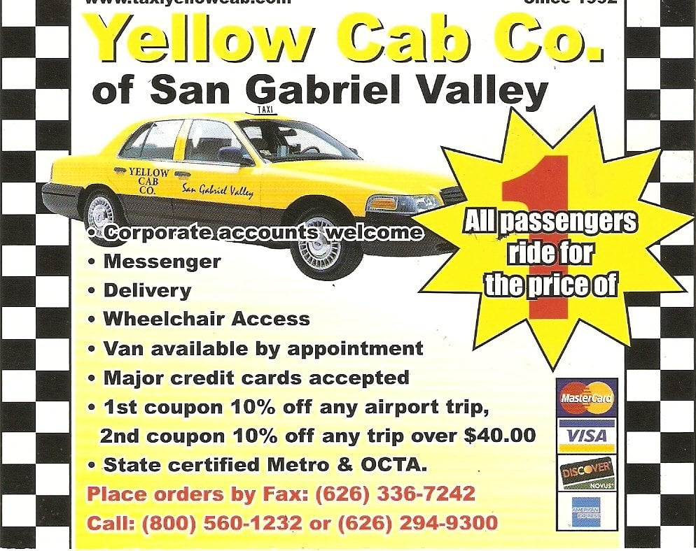 A1 Taxi Yellow Cab: 1701 S Hacienda Ave, Hacienda Heights, CA