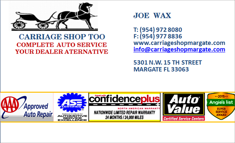 Carriage Shop Too Aaa Approved Auto Repair Service Ase Certified