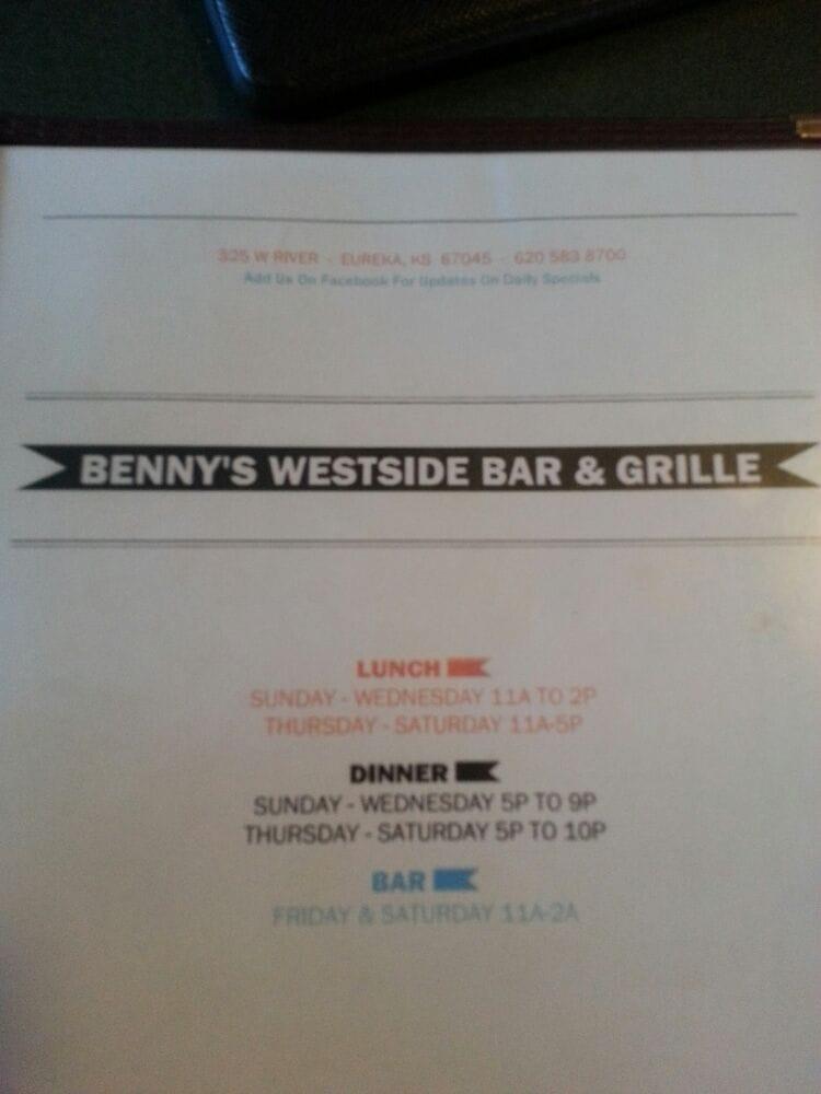 Benny's Westside: 325 W River St, Eureka, KS