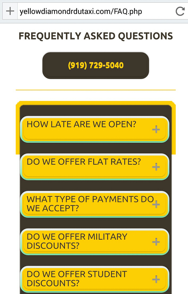 Yellow Diamond Raleigh Durham Taxi Cab Service