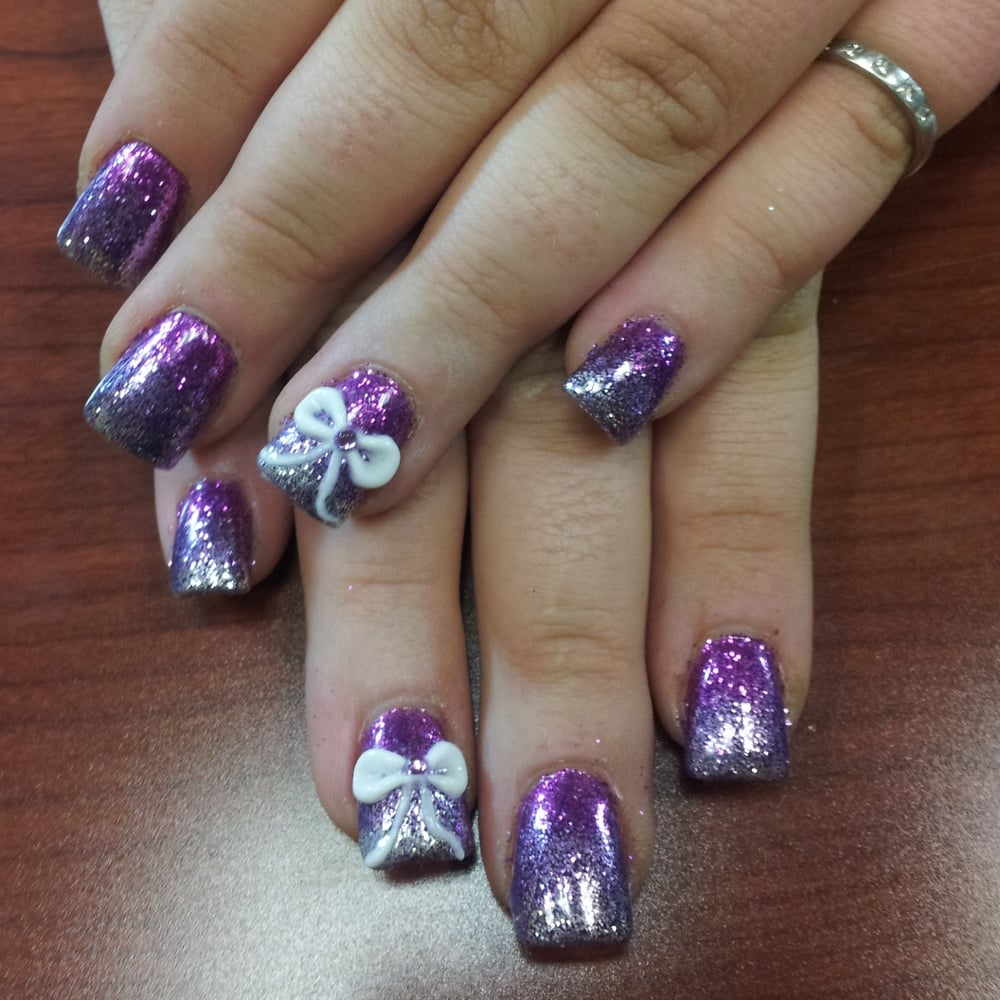 acrylic nails with glitter ombre & 3d bows done by Nail Tech ...