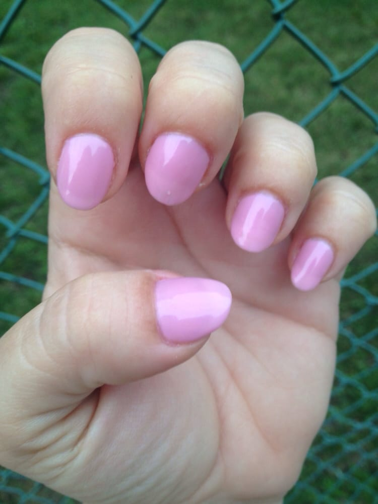 A week after square-shaped French...oval-shaped pink. Natural nails ...