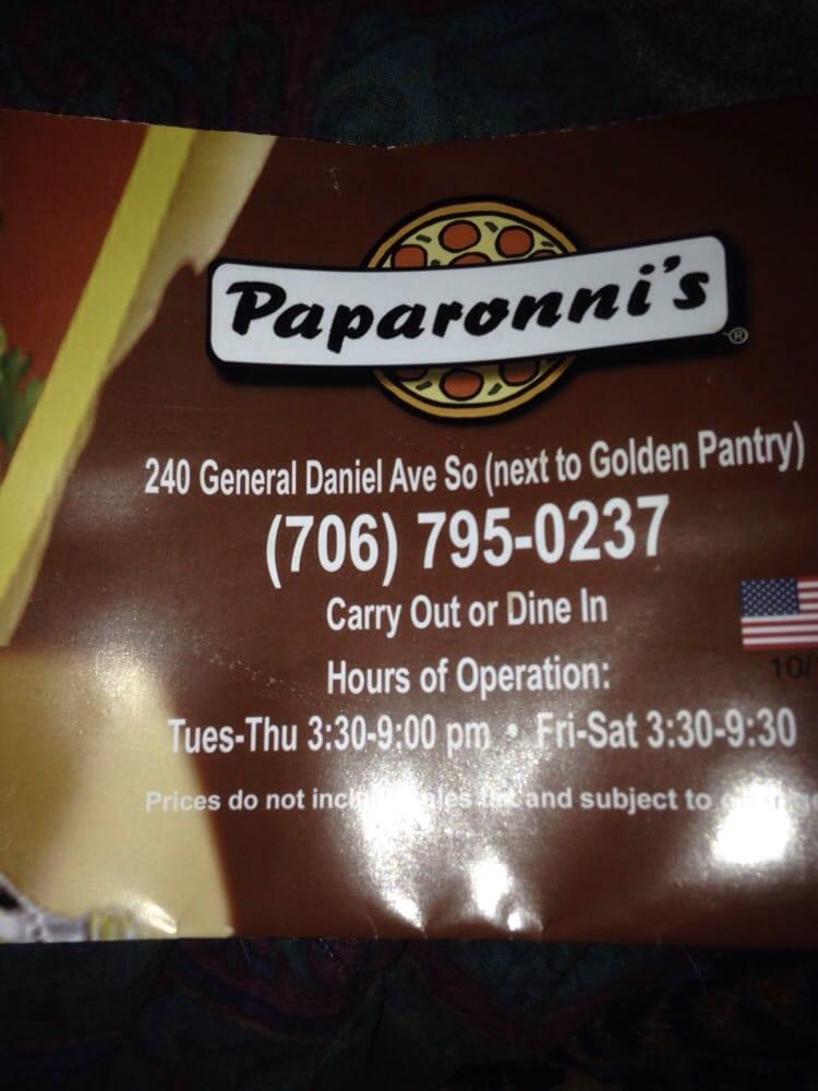 Paparonni's Pizza: 240 General Daniel Ave N, Danielsville, GA