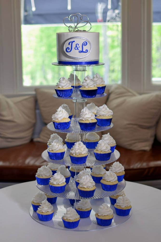 Royal Blue And Silver Wedding Cupcakes Delivered In The Berkshires