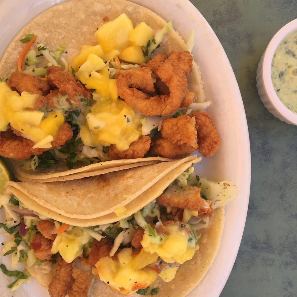Calamari mango tacos very seasonal and very tasty yelp for Fish tacos near me