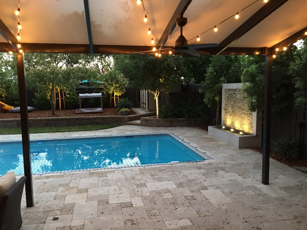 Photo of Hermary's - San Carlos, CA, United States. Backyard lighting,  integrated - Backyard Lighting, Integrated Sound System In 3 Zones (fire Pit