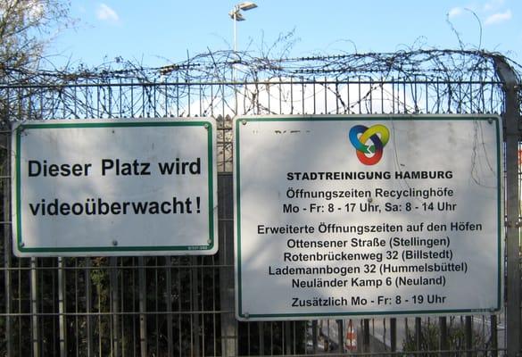 recyclinghof cerrado centros de reciclaje ottensener stra e eidelstedt hamburgo hamburg. Black Bedroom Furniture Sets. Home Design Ideas