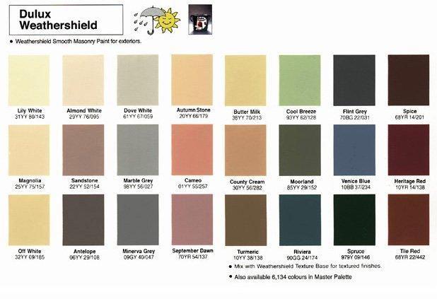 Dulux Weathershield Colour Chart Yelp