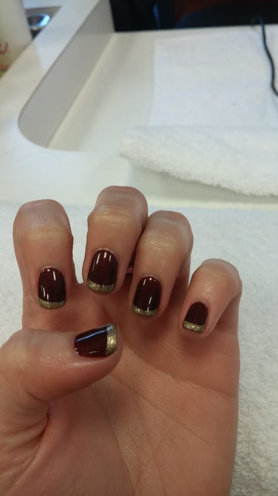 Gel burgundy nails with gold tips. Amazing! - Yelp