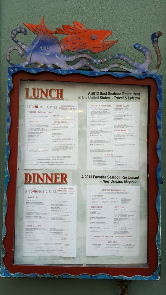 Menu posted outside yelp for Red fish grill new orleans la