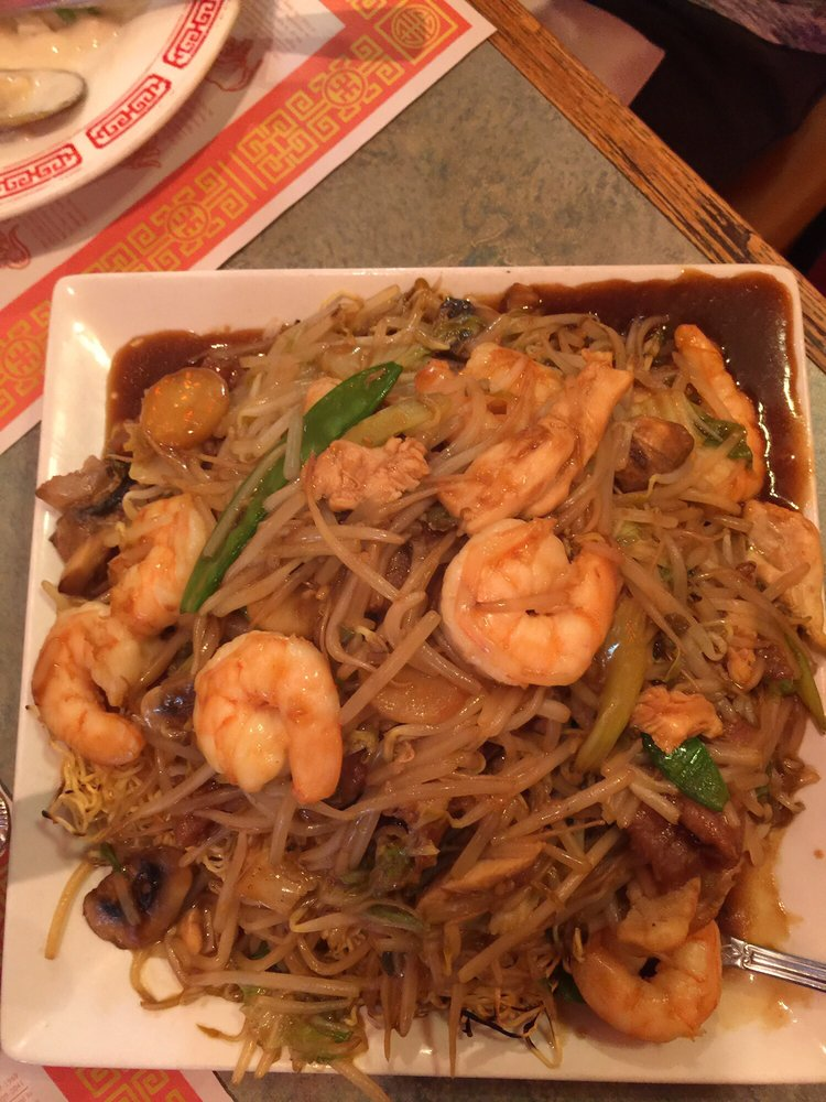 Huge Portion Of Chicken Shrimp Amp Beef Lo Mein Yelp