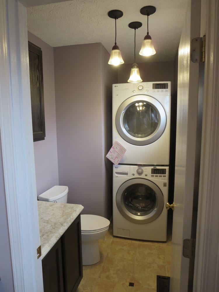 A small bathroom was converted into a laundry room 32x32 Adding bathroom to laundry room