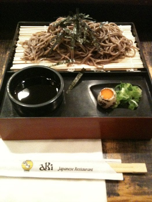 Zaru soba add the quail egg green onions and wasabi to for Aki japanese cuisine
