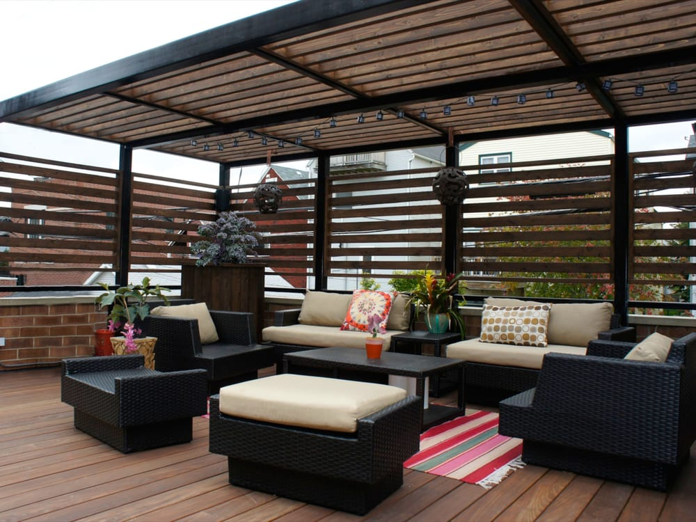 Ipe garage roof deck with steel pergola for additional for Roof deck design