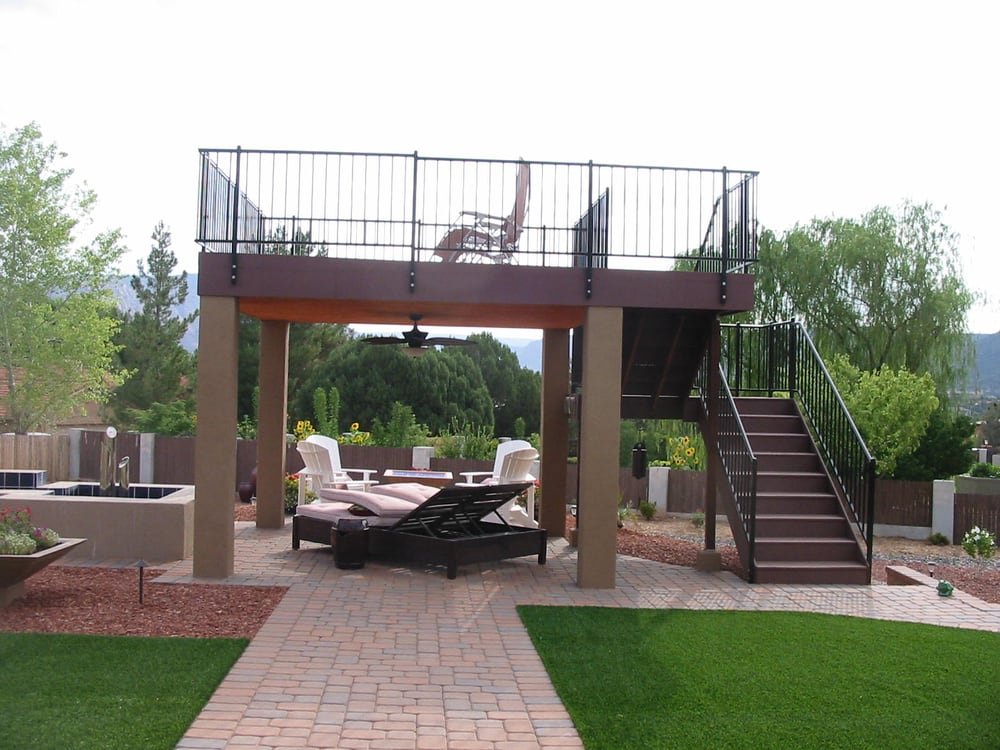 Build a freestanding view deck to capture the red rock for Free elevated deck plans