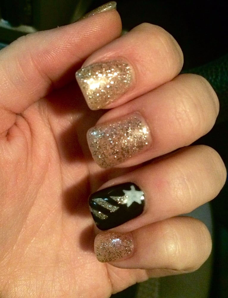 Fancy Christmas nails done free handed by Jannette. - Yelp