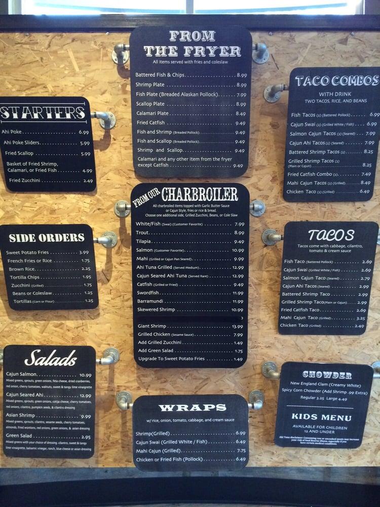 Wall menu yelp for California fish grill menu