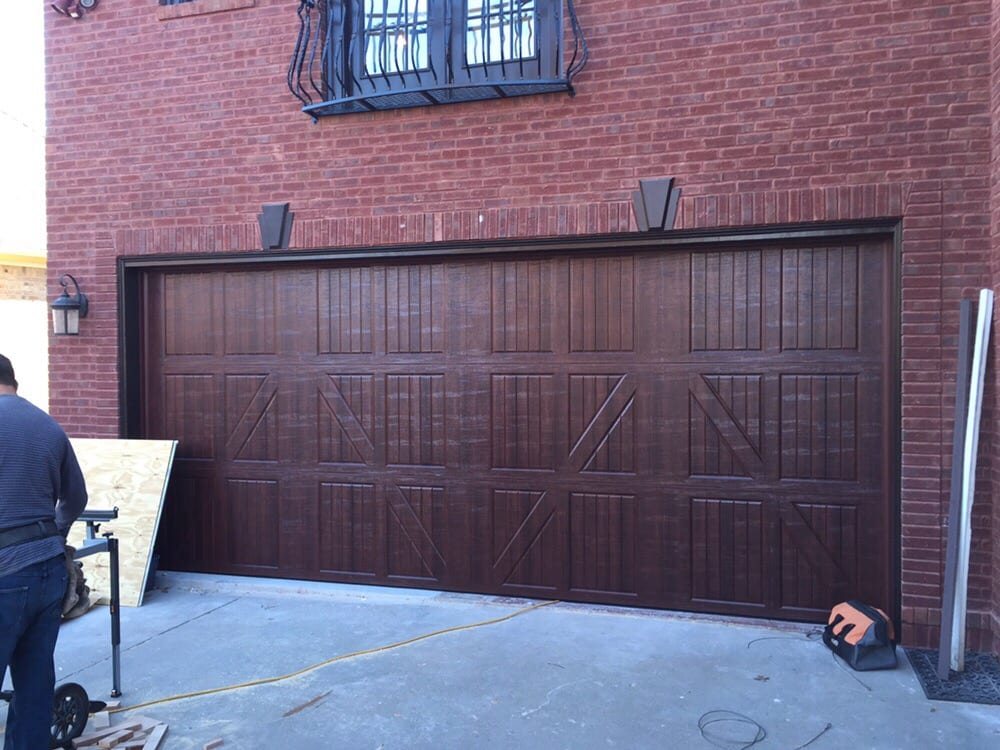 Amarr classica 3000 lucern mahogany color size 18x8 yelp for 18x8 garage door