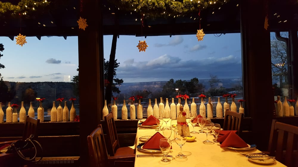 el tovar dining room reviews   Christmas decorations with a great view of the canyon - Yelp