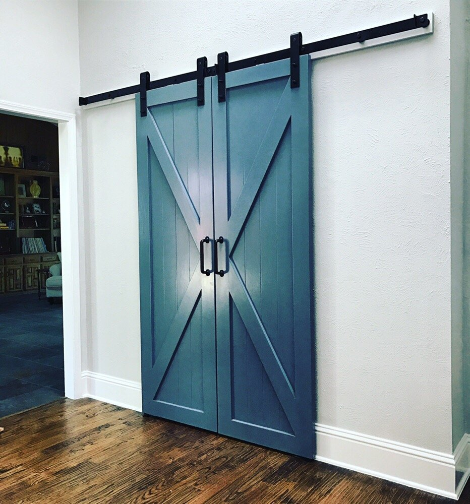 Painted Pantry Barn Doors Bright Blue To Make A Statement Yelp