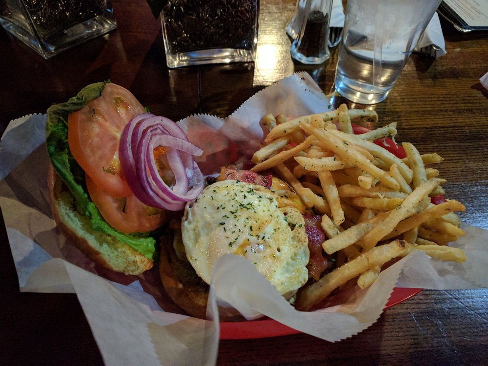 Kitchen sink burger and fries - Yelp