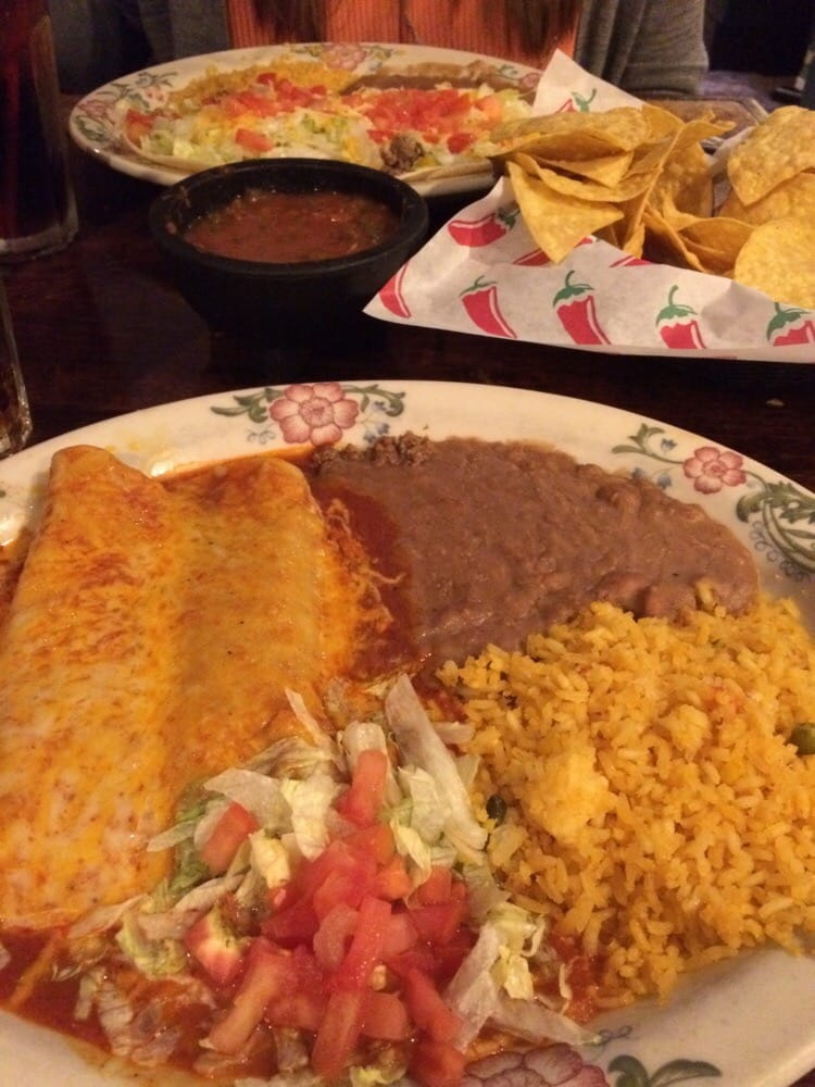 Enchilada plate and tacos plate salsa is okay yelp for El salas restaurante