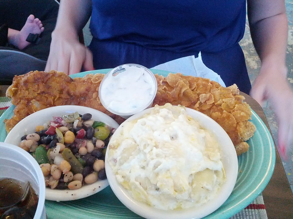 Crunchy fish with mac n cheese and 5 bean salad yelp for Mac s fish and chips