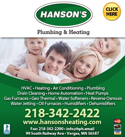 Hanson's Plumbing & Heating: 99 South Railway Ave, Vergas, MN