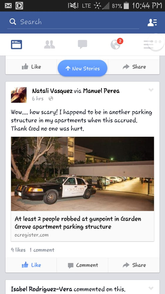 And look this recently happened i park my car down in - Crystal view apartments garden grove ...