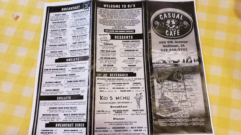 Dj's Casual Cafe: 603 9th Ave, Wellman, IA