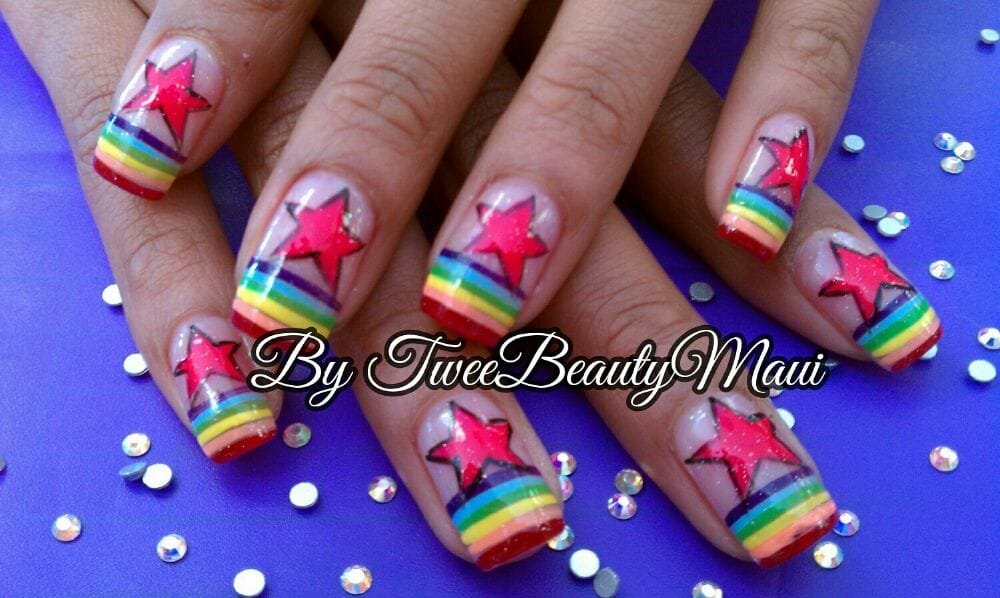 Bright colors nails design at Happy Nails Kihei! - Yelp