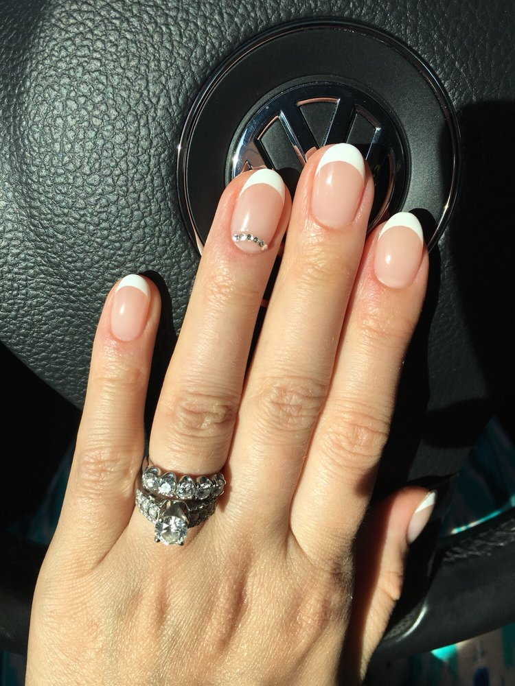 Simple oval shape no chip French manicure - Yelp
