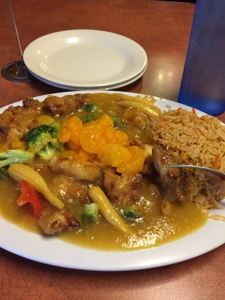 Orange chicken with fried rice yelp for Asian cuisine tulsa