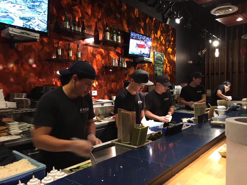 Photo of Umiya Sushi - Las Vegas, NV, United States. Sushi bar. Not the usual angry faces.
