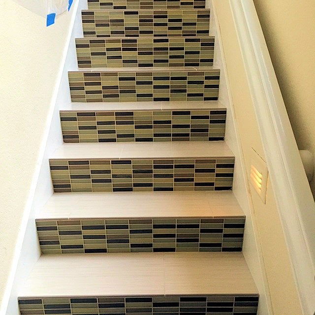 Stairs With Glass Mosaic Tile Risers And Custom Bullnose