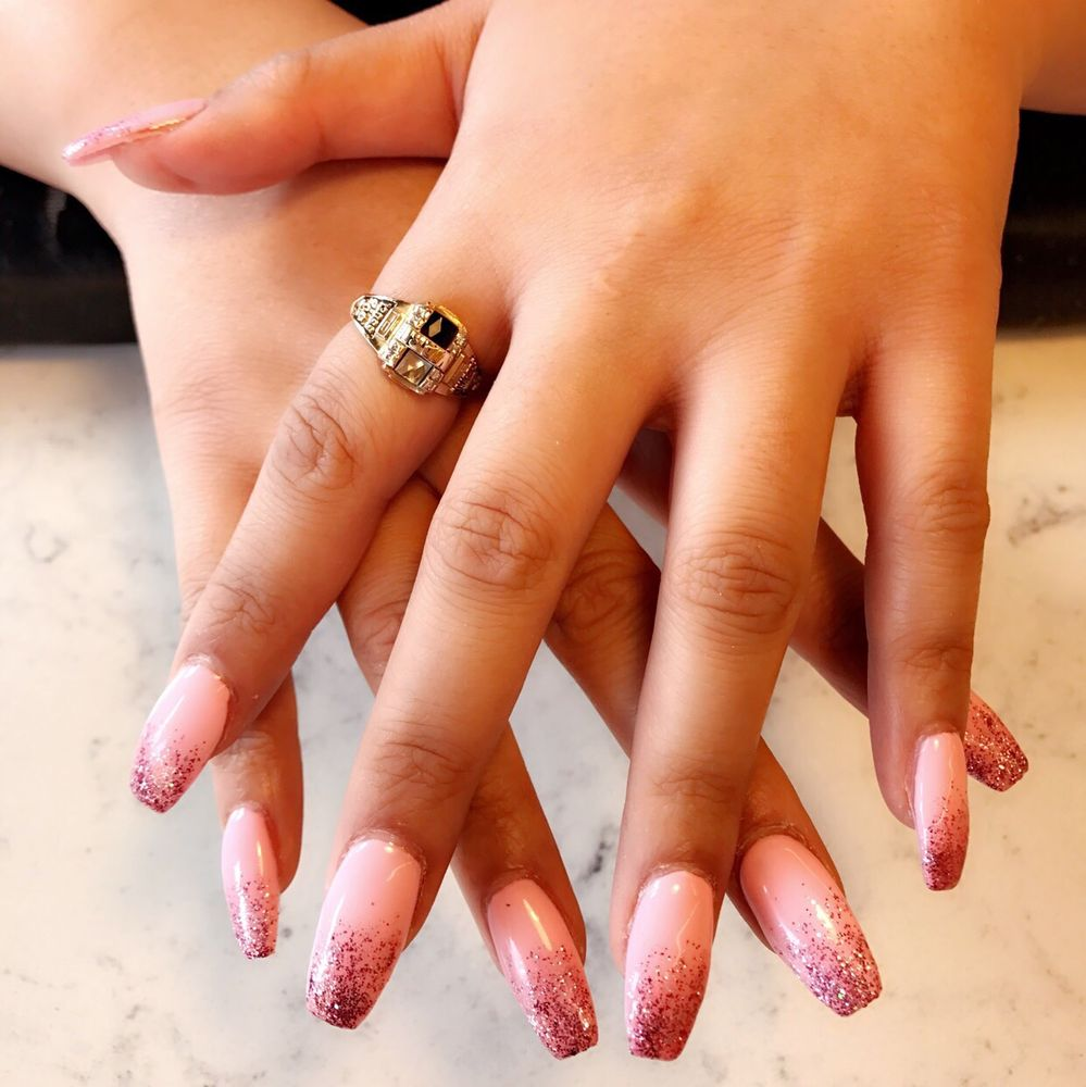 Glitter Ombre Coffin Shape Nails For Valentine S Day Yelp